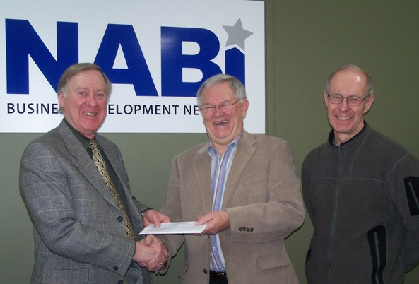 Receiving a grant cheque from the province with Ken Allred and Dar Schwanbeck, NABI Managing Director